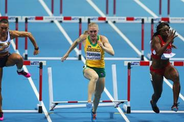 The women's 60m hurdles final at the 2014 IAAF World Indoor Championships in Sopot (Getty Images)