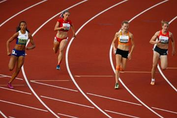 Morgan Lake (left) and Nadine Visser (second from right) in the heptathlon 200m at the 2014 IAAF World Junior Championships in Eugene (Getty Images)