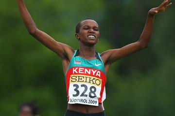 Nelly Chebet Ngeiywo of Kenya wins the Girls' 1500m final (Getty Images)