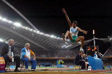 India's Anju Bobby George jumping in the Athens Olympics (Getty Images)