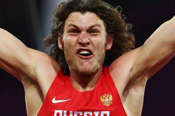Ivan Ukhov of Russia celebrates after winning the gold medal in the Men's High Jump Final on Day 11 of the London 2012 Olympic Games at Olympic Stadium on August 7, 2012 (Getty Images)