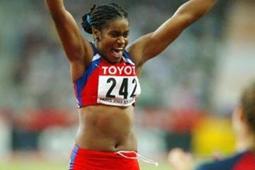 Yipsi Moreno of Cuba after winning the women's hammer throw (Getty Images)