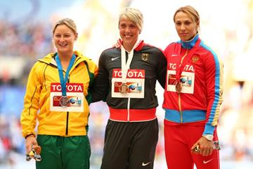 Womens Javelin Throw Medal Ceremony at the IAAF World Athletics Championships Moscow 2013 (Getty Images)
