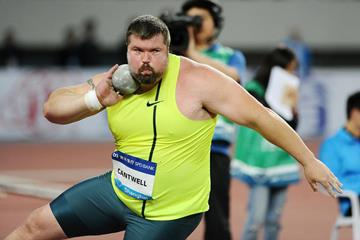 Christian Cantwell in the shot put at the 2014 IAAF Diamond League meeting in Shanghai (Errol Anderson)