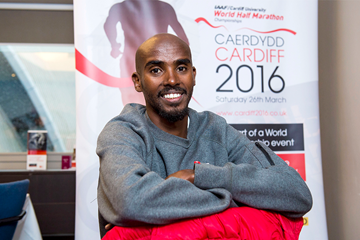 IAAF/Cardiff University World Half Marathon Championships Cardiff 2016 ambassador Mo Farah (Cardiff 2016)