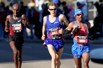 Top 3 at the USA Olympic Marathon Trials, from right: Meb Keflezighi, Ryan Hall and Abdi Abdirahman (Getty Images)