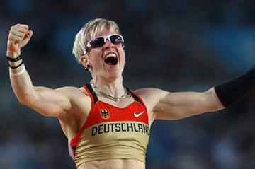 Martina Strutz of Germany enjoying her second place of the women's Pole Vault final (Getty Images)