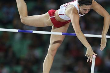 Monika Pyrek of Poland in action during the Pole Vault Final (Getty Images)