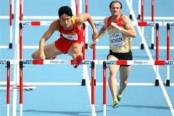 Liu Xiang of China in action in the opening round of the men's 110m Hurdles (Getty Images)