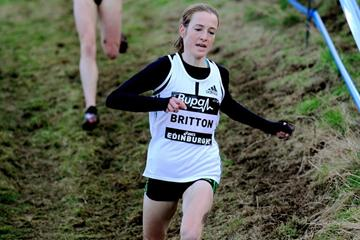 Ireland's Fionnuala Britton en route to her 6Km team race win in Edinburgh (Mark Shearman)