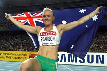 Sally Pearson of Australia celebrates victory in the women's 100 metres hurdles final  (Getty images - Bongarts)