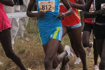 Priscah Jepleting en route to her win at the Discovery Kenya XC title (David Macharia)