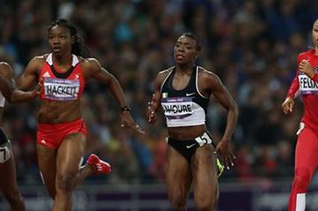 (L-R) Laverne Jones-Ferrette of Virgin Islands, US, Semoy Hackett of Trinidad and Tobago, Murielle Ahoure of Cote d'Ivoire and Allyson Felix of the United States compete in the Women's 200m Semifinals on Day 11 of the London 2012 Olympic Games at Olympic Stadium on August 7, 2012  (Getty Images)