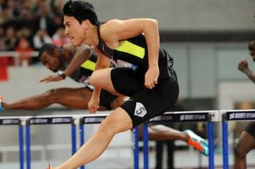 Liu Xiang en route to his 12.97 world lead and meeting record in Shanghai (Errol Anderson)
