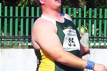 Stefan Brink wins the Shot Put in a PB of 19.93m in Maputo, Mozambique (Mark Ouma for the IAAF)