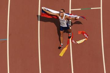 Matej Toth after winning the 50km race walk at the IAAF World Championships, Beijing 2015 (Getty Images)