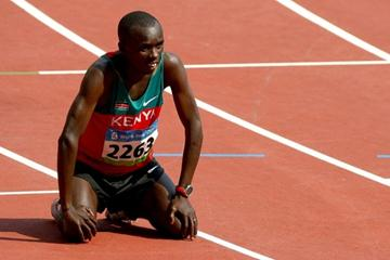 Samuel Wanjiru catches his breath after producing a superb front-running effort to win the Olympic marathon (Getty Images)