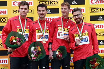 Canada's Mathieu Bilodeau, Ben Thorne, Evan Dunfee and Inaki Gomez with their 20km team silver medals at the IAAF World Race Walking Team Championships Rome 2016 (Getty Images)