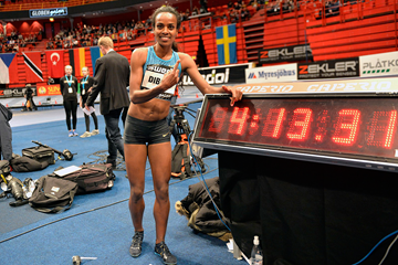 Genzebe Dibaba after breaking the world indoor mile record at the Globen Galan in Stockholm (Hasse Sjogren)