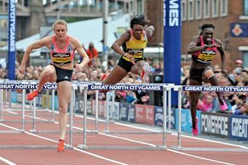 Sally Pearson winning the 100m Hurdles at the 2013 Great North City Games (Mark Shearman)