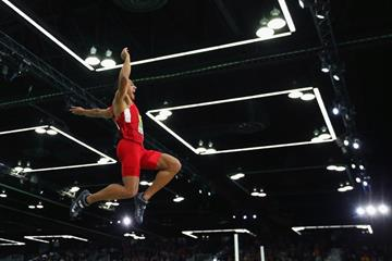 Ashton Eaton in the heptathlon long jump at the IAAF World Indoor Championships Portland 2016 (Getty Images)