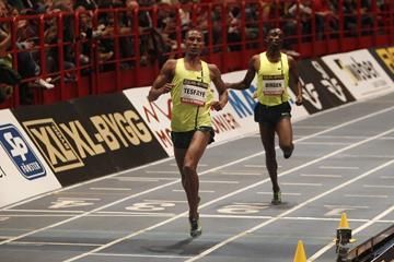 Homiyu Tesfaye winning the 1500m at the 2015 XL-galan meeting in Stockholm (DECA Text&Bild)