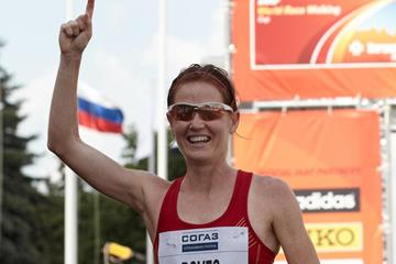Maria José Poves of Spain celebrates winning bronze in Saransk (Getty Images)