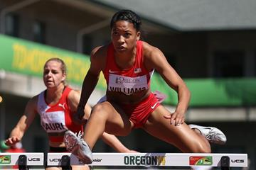 Kendell Williams in the 100m hurdles at the IAAF World Junior Championships, Oregon 2014 (Getty Images)