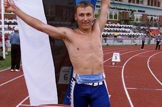 Rene Oruman after winning the 2001 world youth octathlon title in Debrecen (© Allsport)