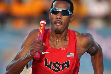 Triple jump specialist Christian Taylor on the US 4x400m team at the 2014 IAAF World Relays in Nassau (Getty Images)