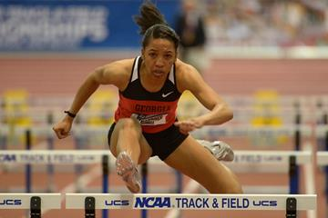 Kendell Williams in action at the 2014 NCAA Indoor Championships (Kirby Lee)