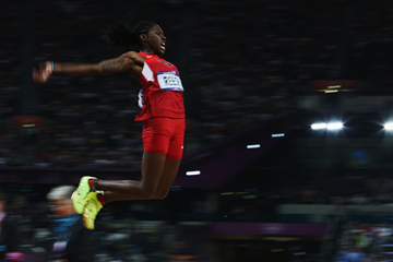 Brittney Reese in the long jump at the London 2012 Olympic Games (Getty Images)