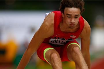 USA's Harrison Williams in the decathlon long jump at the 2014 IAAF World Junior Championships in Eugene (Getty Images)