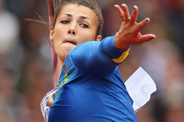 Marhartya Dorozhon in action in the javelin (Getty Images)