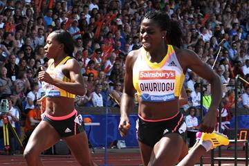 Christine Ohuruogu winning the 400m at the 2013 IAAF Diamond League meeting in Birmingham (Mark Shearman)