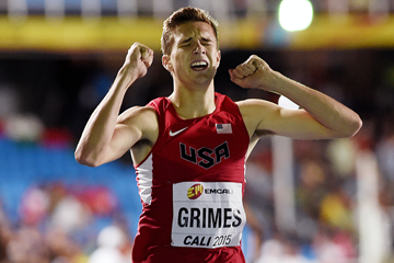 Norman Grimes after winning the boys' 400m hurdles at the IAAF World Youth Championships, Cali 2015  (Getty Images)