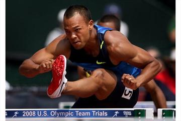 Bryan Clay hurdling in the Decathlon at the US Olympics Trials (Getty Images)