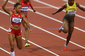 Allyson Felix of the United States celebrates winning gold in the Women's 200m Final on Day 12 of the London 2012 Olympic Games at Olympic Stadium on August 8, 2012 (Getty Images)