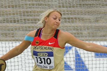 Anna Ruh of Germany competes for winning the gold medal on the Women's Discus Throw Final on day six of the 14th IAAF World Junior Championships in Barcelona on 15 July 2012 (Getty Images)