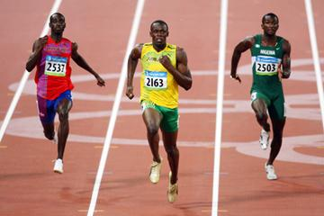 Usain Bolt makes his 9.92 clocking look easy in the 100m quarter finals (Getty Images)