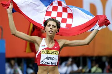 Blanka Vlasic of Croatia celebrates the gold medal in the High Jump (Getty Images)