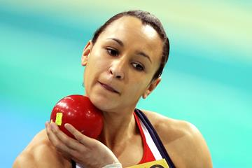 Great Britain's Jessica Ennis gets ready to compete in the Pentathlon Shot Put at the 2010 World Indoor Championships (Getty Images)