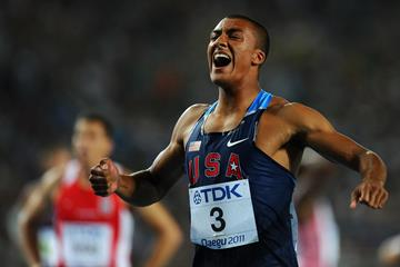 US decathlete Ashton Eaton celebrates winning the silver medal at the 2011 World Championships in Daegu (Getty Images)