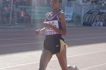 Zemzem Ahmed wins the women's 3000m SC at the Ethiopian Championships (Elshadai Negash)