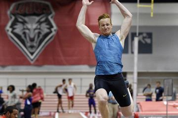 Greg Rutherford leaps a UK indoor long jump record of 8.26m in Albuquerque (Randy Miyazaki)