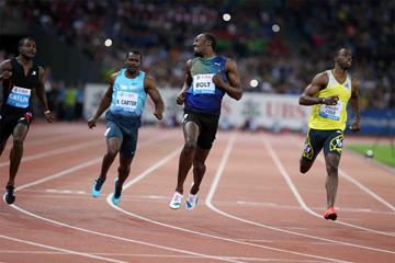 Usain Bolt wins the 100m at the 2013 IAAF Diamond League meeting in Zurich (Jiro Mochizuki)