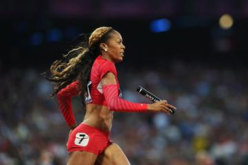 Sanya Richards-Ross in action in the 4x400m (Getty Images)