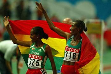 Berhane Adere and Werknesh Kidane celebrate winning gold and silver in the women's 10,000m (Getty Images)