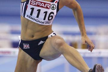Jessica Ennis (GBR) competes in the 60m Hurdles Pentathlon in Birmingham Euro Indoors (Getty Images)