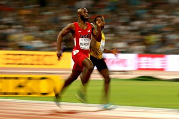Lashawn Merritt wins gold for the USA in the men's 4x400m relay during day nine of the IAAF World Championships, Beijing 2015 at Beijing National Stadium on August 30, 2015  (Getty Images)